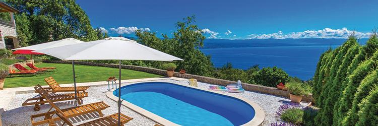 Aktivurlaub mit Panoramablick in der Kvarner-Bucht und die umliegenden Inseln in den Villen und Ferienhäusern in der Kvarner-Bucht
